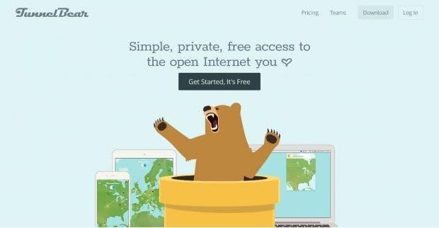 Neben dem VPN-Dienst bietet Tunnelbear auch eine Browser-Erweiterung an. (Screenshot: tunnelbear.com)