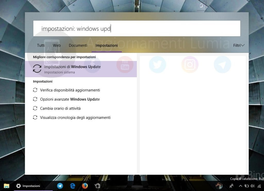 Die neue Cortana-Suche unter  Windows 10. (Screenshot: Aggiornamenti Lumia)