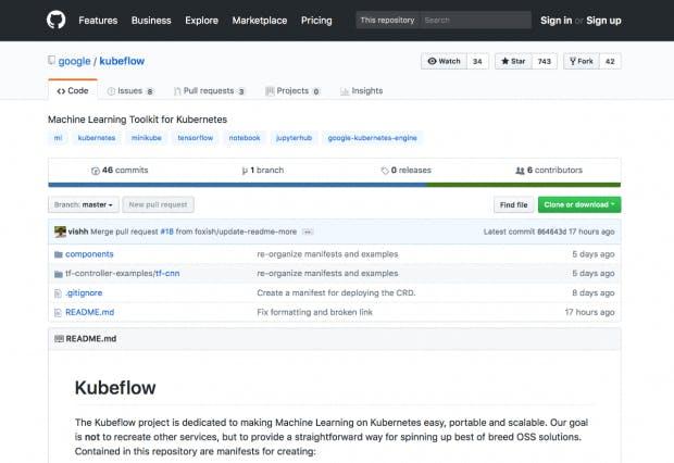 Das Kubeflow-Projekt steht auf Github zum Download bereit. (Screenshot: Github)