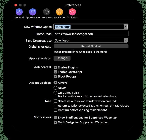 Jede App in Unite hat, da sie eine eigene Browser-Instanz ist, auch eigene Einstellungen für Cookies etc. (Screenshot: Unite)