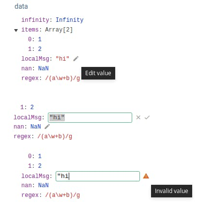 Editierbare Felder in der neuen Version der Vue.js-DevTools. (Screenshot: Vue.js/Github)
