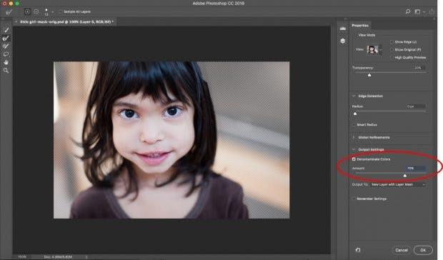 """Die Photoshop-Funktion """"Auswählen und markieren"""" hat jetzt einen Regler für die Farbdekontaminierung. (Bild: Adobe)"""