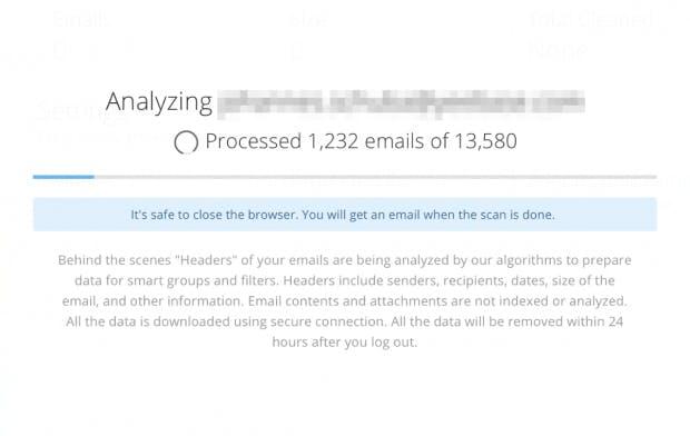 Bei der Einrichtung analysiert Cleanemail alle E-Mail-Header des Postfachs. (Screenshot: Cleanemail)