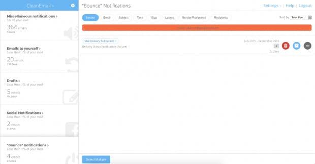 Cleanemail gliedert die Mails nach unterschiedlichen Kriterien und zeigt an, wie viele Treffer es jeweils gibt. (Screenshot: Cleanemail)