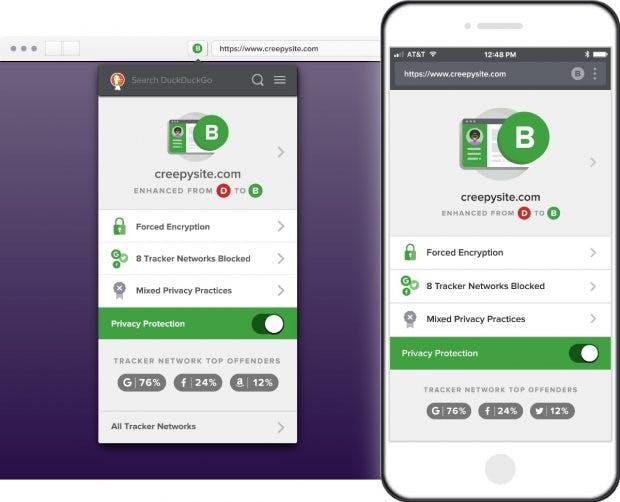 Die Duckduckgo-Apps zeigen die unterschiedlichen Kriterien, die auf einer Website geprüft werden, an. (Bild: Duckduckgo)