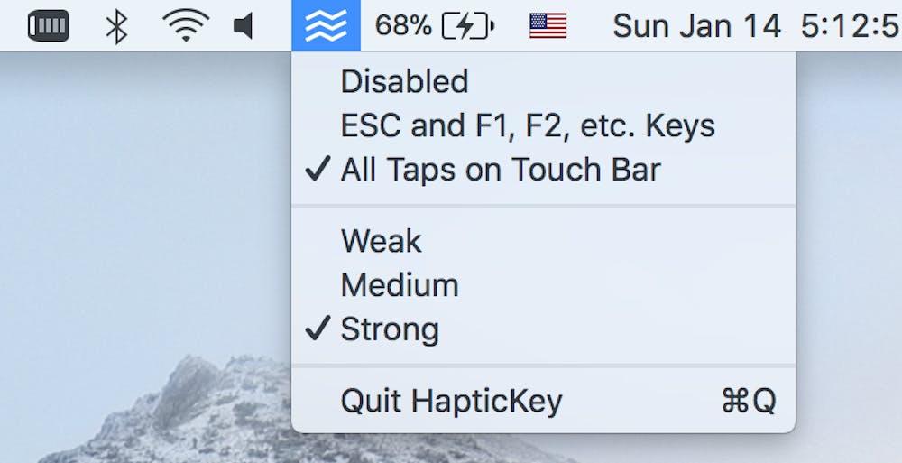 Haptickey nistet sich in der Menüleiste ein und bietet dort noch Optionen zum Feedback an. (Screenshot: Haptickey)