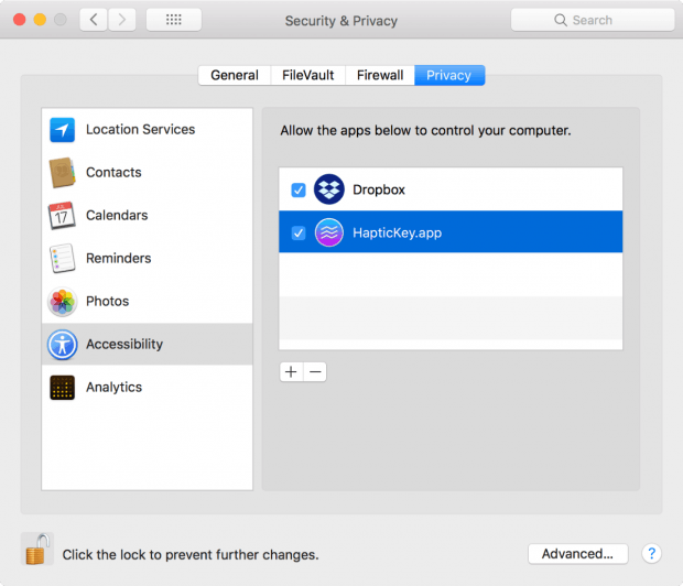 Hat Haptickey die entsprechenden Berechtigungen in den macOS-Einstellungen, bekommen Nutzer beim Betätigen der Touch-Bar ein haptisches Feedback. (Screenshot: Haptickey / macOS)