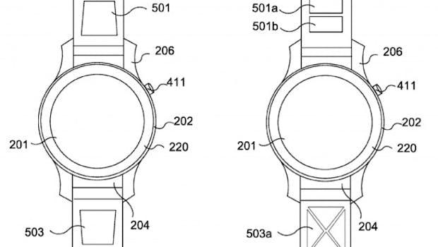 Ebenfalls im Antrag beschrieben: Ein im Armband eingebautes Touchfeld. (Bild: Huawei/WIPO)