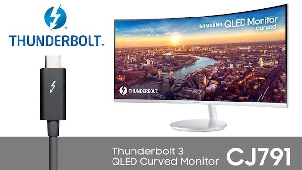 Samsung CJ791 Curved QLED-Monitor mit Thunderbolt 3 als Highlight. (Foto: Samsung)