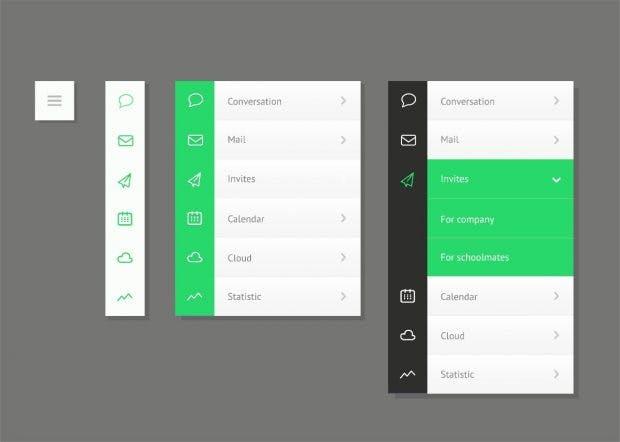 Mobile Menüs können sehr unterschiedlich gestaltet werden (Grafik: Shutterstock-Delices)