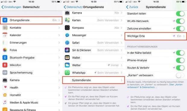 Der Standortverlauf von iOS findet sich in den Einstellungen unter Datenschutz → Ortungsienste → Systemdienste → Wichtige Orte. (Screenshot: iOS)