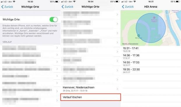 Die Einstellungen listen alle Städte auf. Innerhalb derer sind genaue Orte sowie Uhrzeiten zu sehen. Die Funktion lässt sich komplett deaktivieren, alternativ können Nutzer einzelne Städte oder Orte löschen. (Screenshot: iOS)