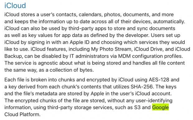 """Hinweis auf Google im """"iOS Security Guide"""" (Screenshot mit Hervorhebung)"""