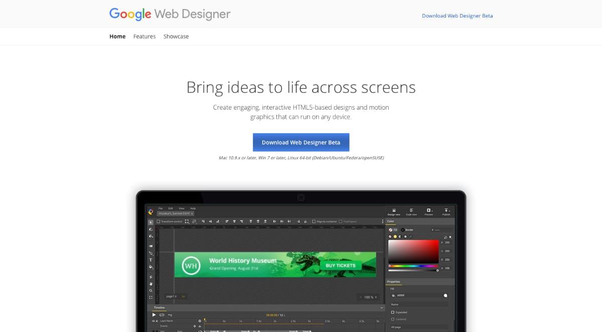 Oberflächen ganz einfach mit Google Webdesigner