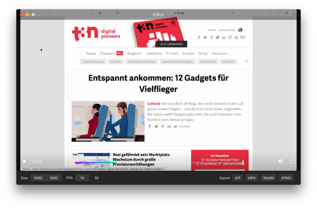 Über den integrierten Editor von Kap lassen sich Aufnahmen noch schneiden und in verschiedenen Formaten exportieren. (Screenshot: Kap)