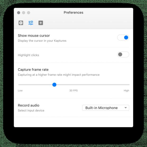 Die Einstellmöglichkeiten von Kap. (Screenshot: Kap)
