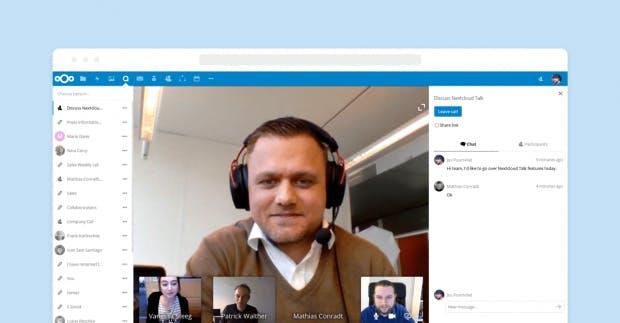 In Nextcloud 13 erhält die schon angekündigte Chatfunktion Einzug. Damit lassen sich beispielsweise Videokonferenzen durchführen. (Bild: Nextcloud)