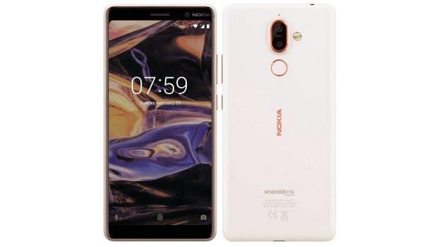 Das Nokia 7 Plus in Weiß mit rosegoldenen Details. (Bild: HMD Global)