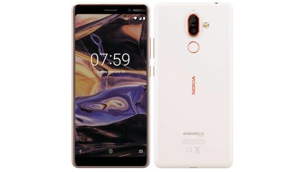 Das Nokia 7 Plus in Weiß mit rosegoldenen Details.  (Bild: evleaks)