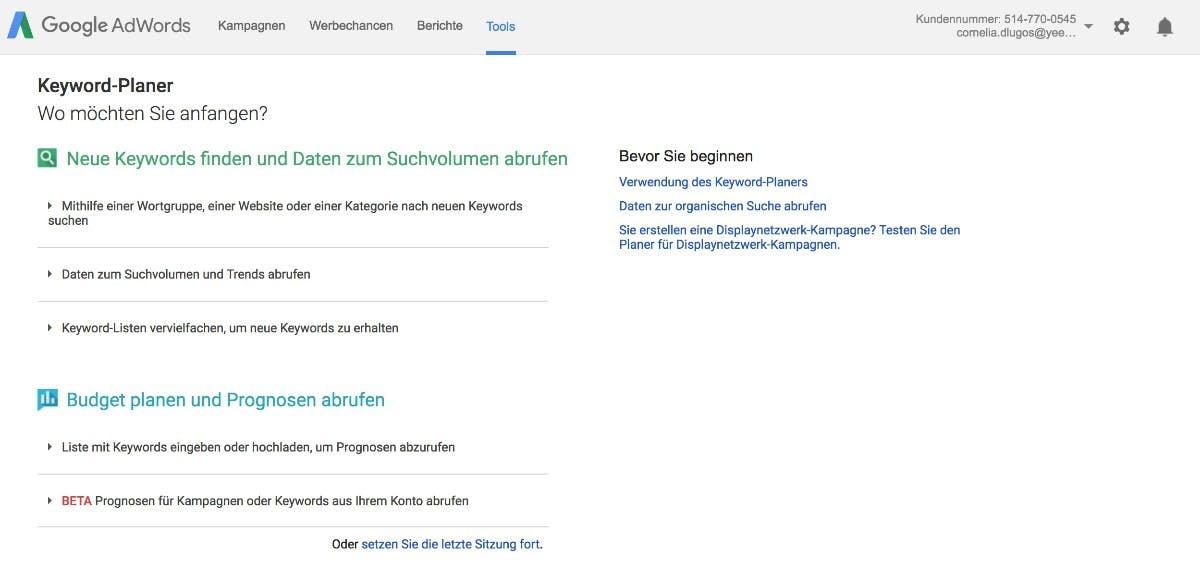Der Keyword Planner bietet verschiedene Möglichkeiten der Keyword-Analyse. (Screenshot: Google Adwords)