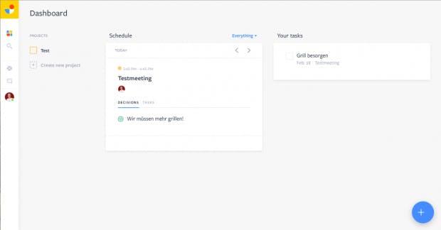 Das Jam-Dashboard zeigt alle anstehenden Termine und Aufgaben, die dem jeweiligen Nutzer aus Meetings zugeordnet sind. (Screenshot: Jam)