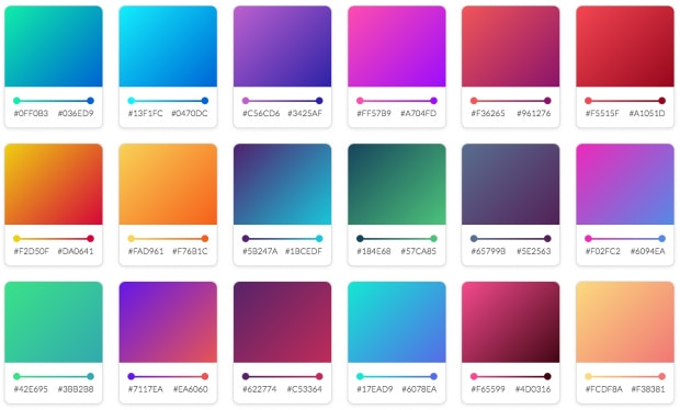 Gradients by CSS-Gears (Screenshot: t3n)