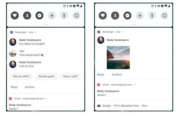 Der Benachrichtigungsbereich wird unter Android Pie umgestaltet. (Bild: Google)