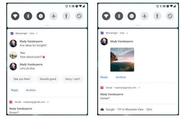 Der Benachrichtigungsbereich wird unter Android Pie umgestaltet. (Bild Google)