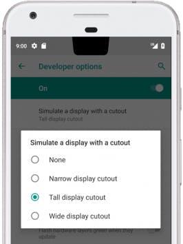 Entwickleroptionen in Android P um eine Notch zu simulieren (Grafik: Google)