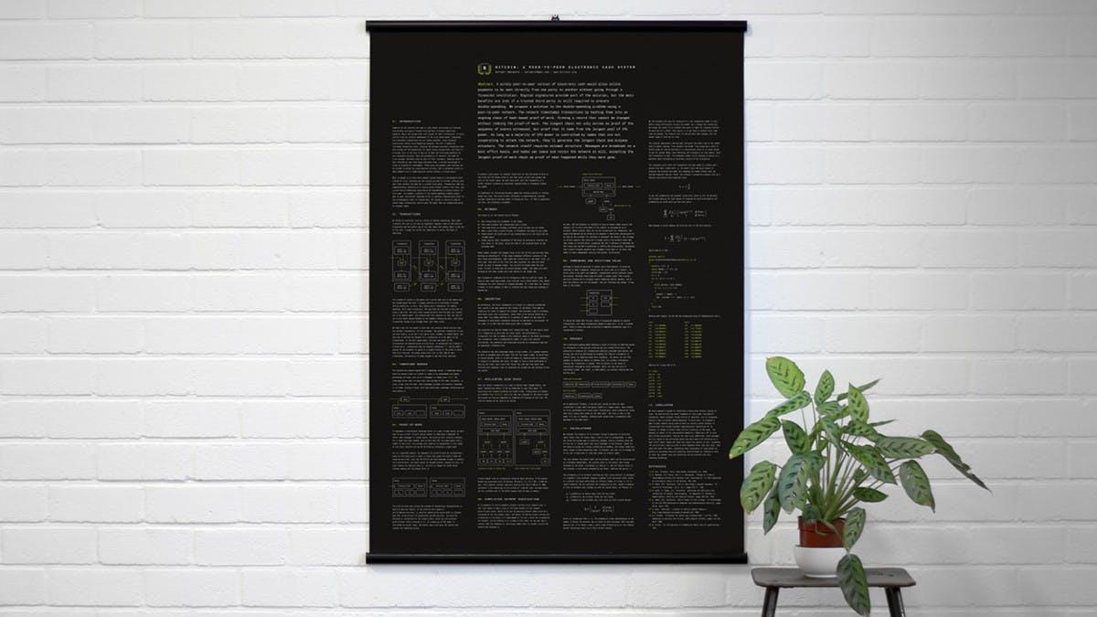 Jemand hat das Bitcoin-Whitepaper in ein Poster verwandelt – und ihr könnt es kaufen