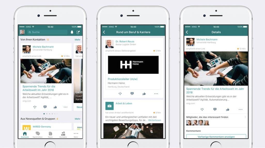 Neue Xing-App: Swipen statt Scrollen, Kartendesign und priorisierte Inhalte