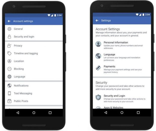 Links alt, rechts neu: die Privatsphäre-Tools für Facebook. (Screenshot: Facebook/t3n.de)