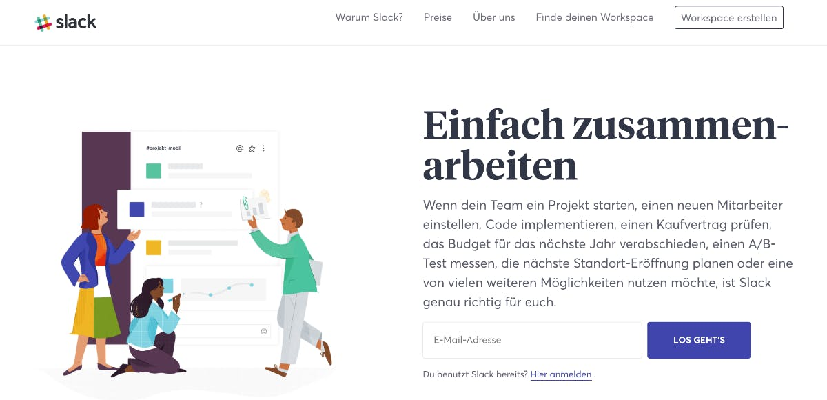 Das primäre Menü von Slack ist einfach und nach Wichtigkeit sortiert. (Screenshot: Slack/t3n.de)