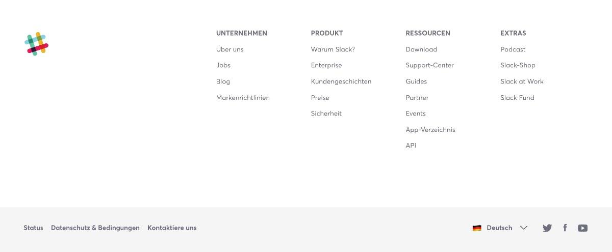 Alle sekundären Funktionen von Slack offenbaren sich im Footer. (Screenshot: Slack/t3n.de)
