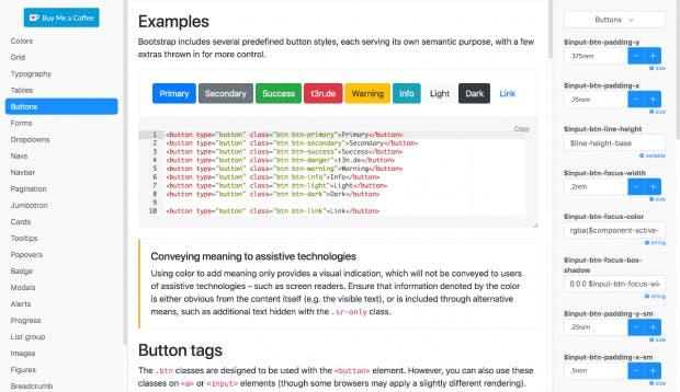 Der Bootstrap 4 Theme-Builder. (Screenshot: Bootstrap-Build/t3n.de)