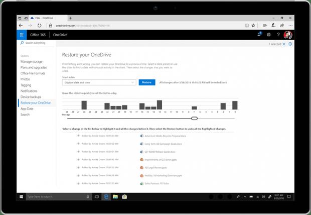 Mit File Restore können Nutzer von Office 365 Dateien aus den letzten 30 Tagen wiederherstellen. (Bild: Microsoft)