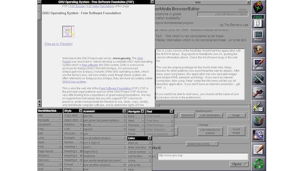 1990: Der Weltweit erste Webbrowser: WorldWideWeb. (Screenshot: Wikipedia/t3n.de)