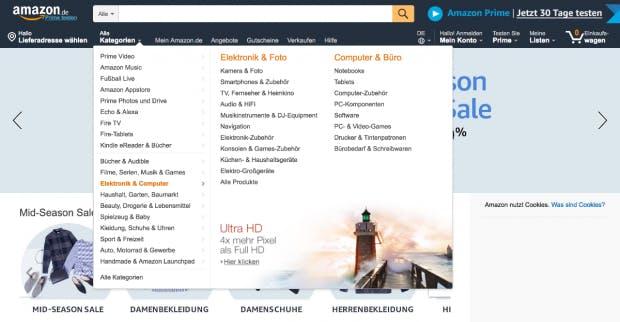 Auch Amazon setzt ein Mega-Menü ein, um möglichst viele Kategorien sichtbar zu machen. (Screenshot: Amazon/t3n.de)