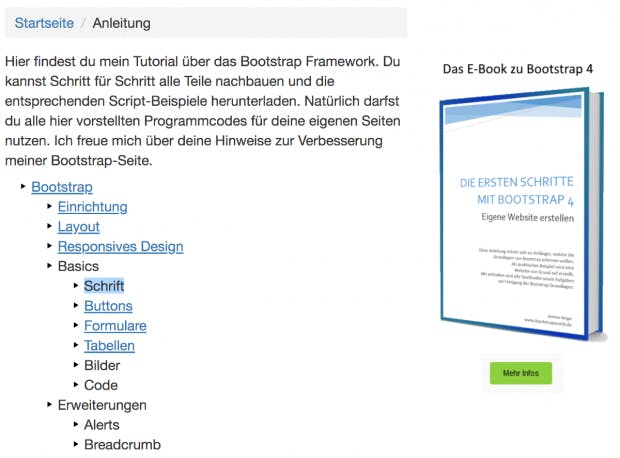 Ein deutschsprachiges Bootstrap-Tutorial. (Screenshot: Bootstrap-World/t3n.de)