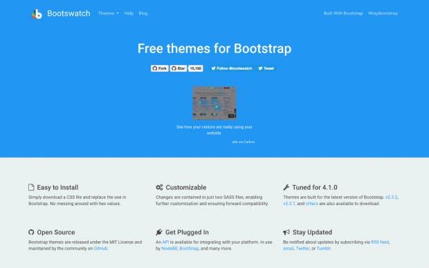 Auf Bootswatch findest du über 20 kostenlose Bootstrap-Themes. (Screenshot: Bootswatch/t3n.de)