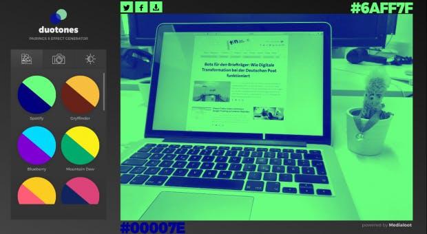 Auf duotones.co lassen sich Vorgaben auswählen oder alternativ eigene Hex-Werte eingeben. (Screenshot: duotones.co)