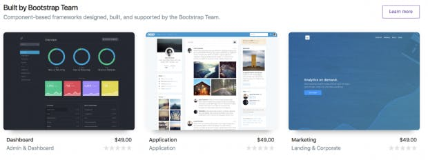 Eine Auswahl der offiziellen Bootstrap-Themes. (Screenshot: Twitter/t3n.de)