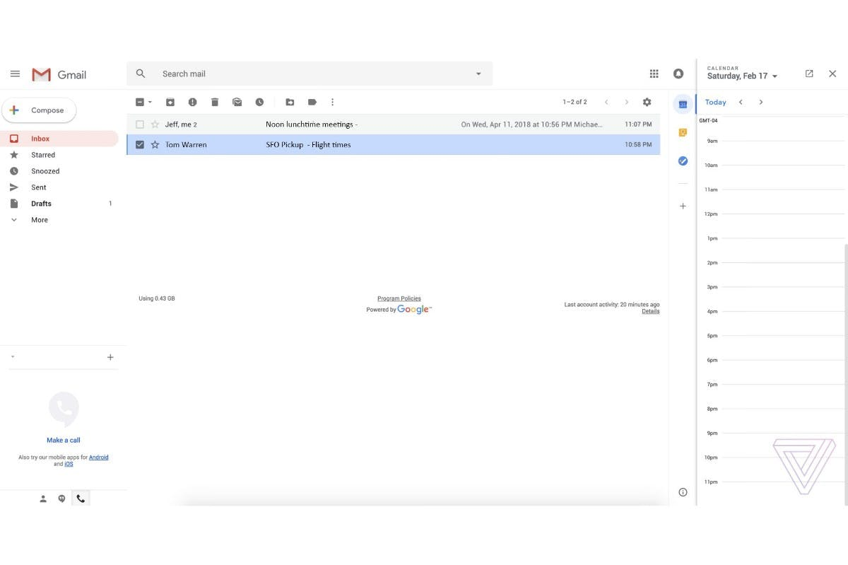 Gmail-Redesign mit Kalender-Plugin. (Screenshot: The Verge)