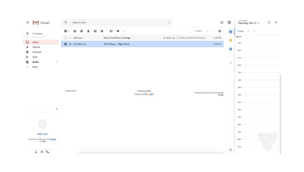 Gmail-Redesign mit Kalender-Plugin. (Screenshot: The Verge)