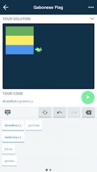 Bei Grasshopper muss der Nutzer in den Lektionen die passenden Code-Schnipsel auswählen, um wie hier eine Landesflagge zu erzeugen. (Screenshot: Grasshopper / t3n.de)