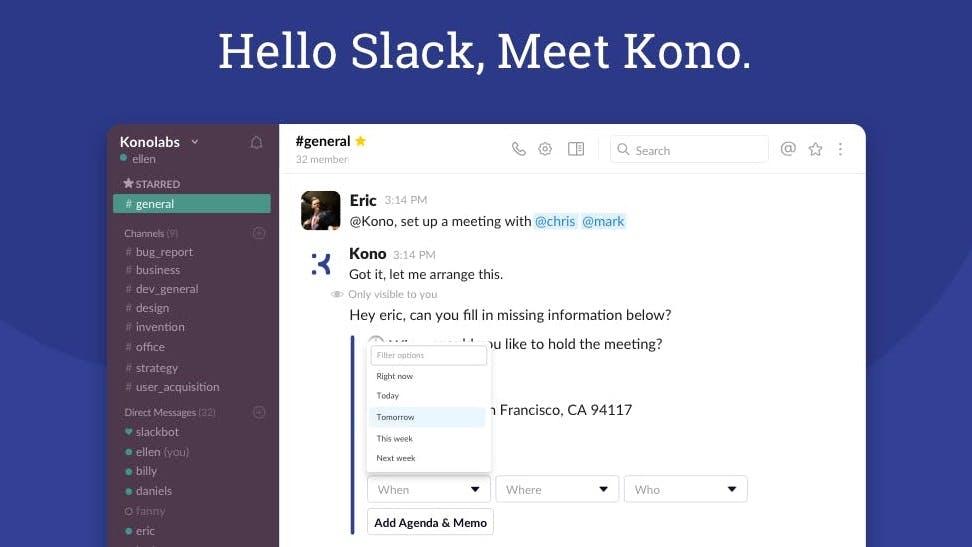 Termine direkt im Chat erstellen: Slack-Bot Kono nimmt dir Arbeit ab