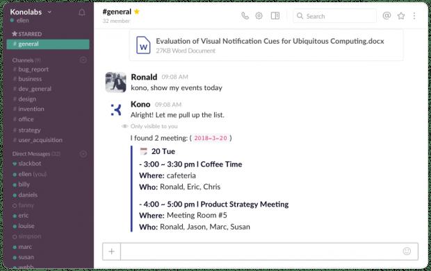 Auf Nachfrage zeigt der Slack-Bot Kono auch die Termine des Tages oder der Woche an. (Screenshot: Kono)