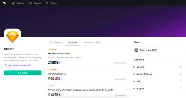 Auf der Spectrum-Website können Nutzer Communities finden, beispielsweise die von Sketch. (Screenshot: Spectrum)