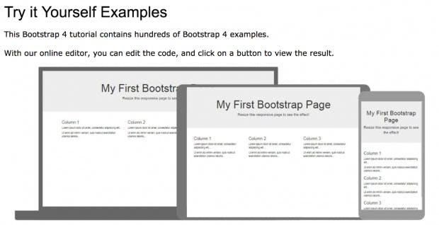 Bootstrap-4-Tutorial mit vielen Beispielen und Online-Editor. (Screenshot: W3schools/t3n.de)