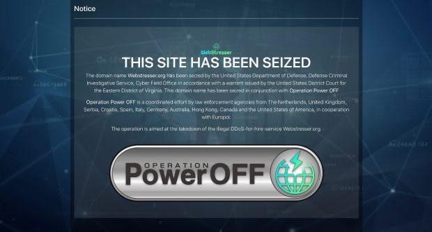 Die Website von Webstresser zeigt nur noch einen Hinweis auf die erfolgreiche Operation der Behörden. (Screenshot: webstresser.org)